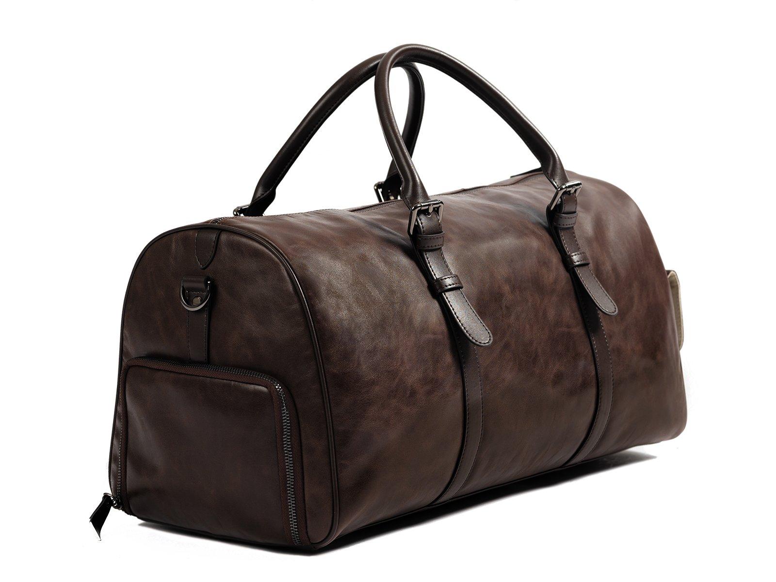 kingsman dark brown leather duffle bag